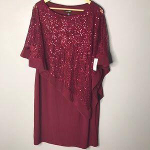 Roz&ALI Burgundy Dress NWT
